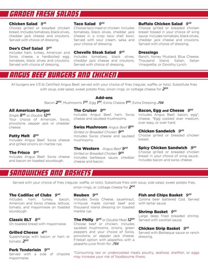cruisers new menu